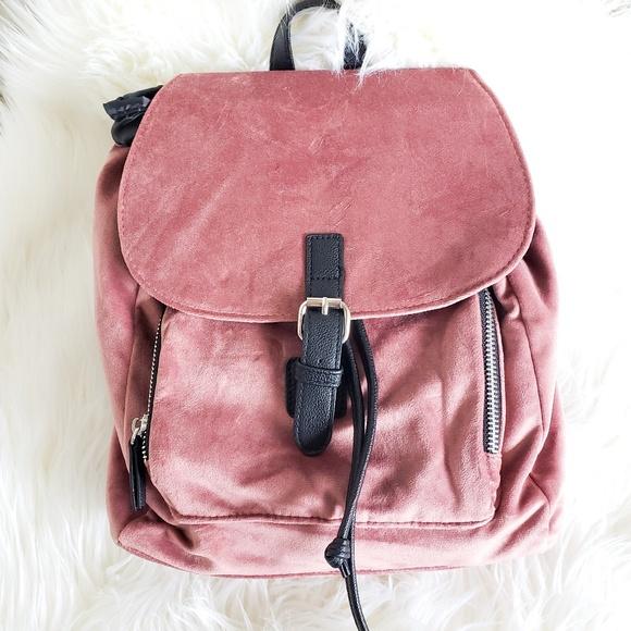 e6fc76c3cf96 Blush Pink Velvet Mini Backpack with Flap Front